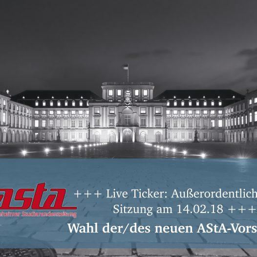 +++ Live Ticker: Außerordentliche StuPa-Sitzung am 14.02.18 +++  Wahl der/des AStA-Vorsitzenden